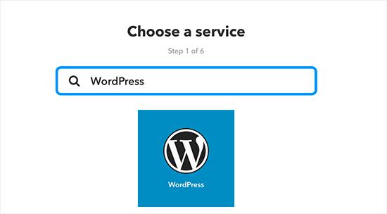 Select WordPress as service