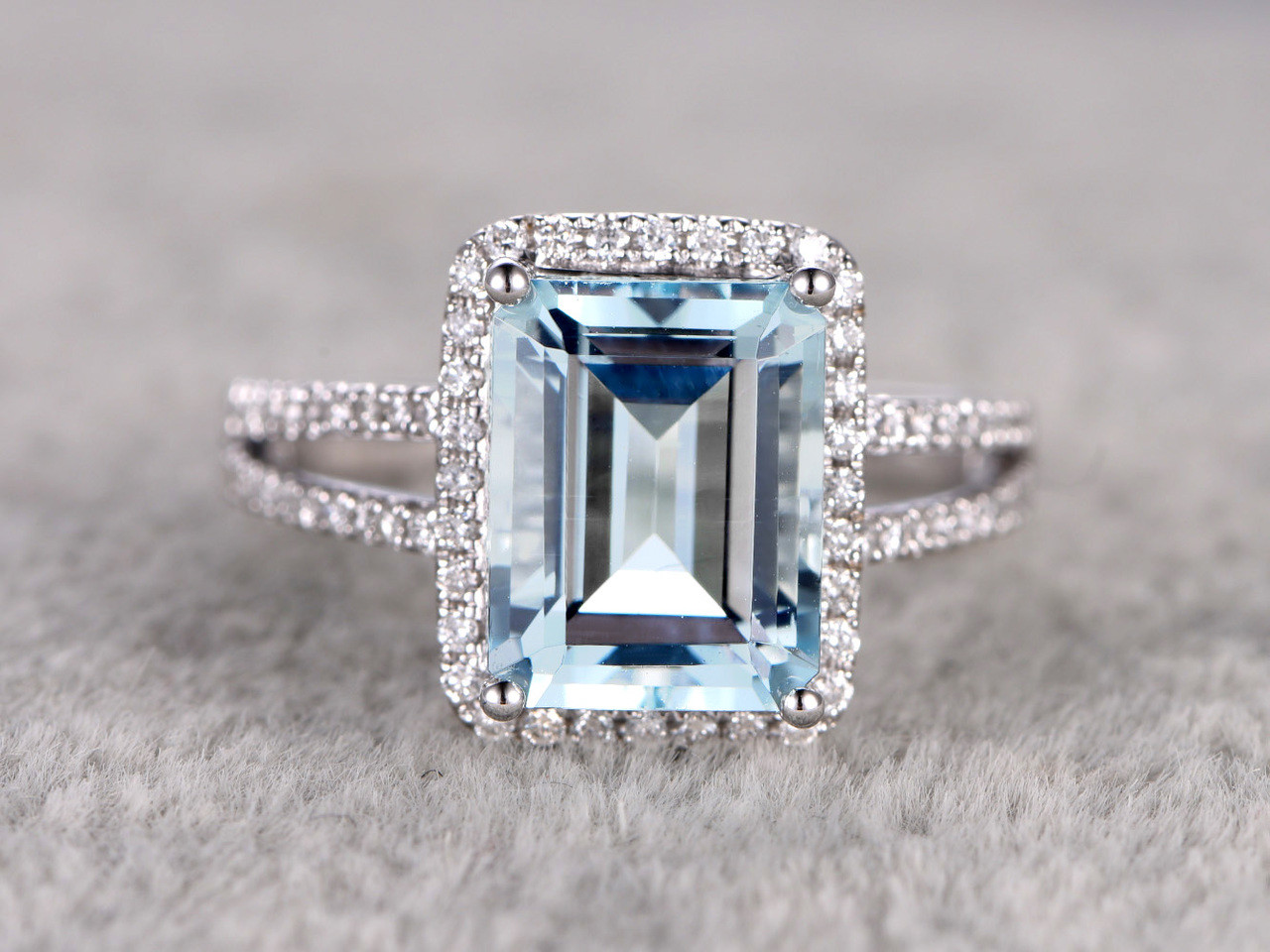 aquamarine engagement rings aquamarine wedding rings mm Emerald Cut Aquamarine Engagement Ring Diamond Wedding Ring 14k White Gold Split Shank Halo Prong
