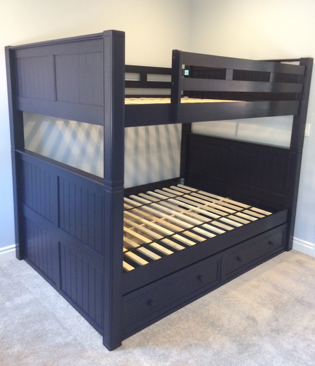 Impressive Under Bed Drawers Dillon Full Over Full Bunk Bed Trundle Bedroom Set Full Bed Under Bed Trundle Full Size Bed Storage Trundle Navy Blue Finish Shown baby Full Bed With Trundle