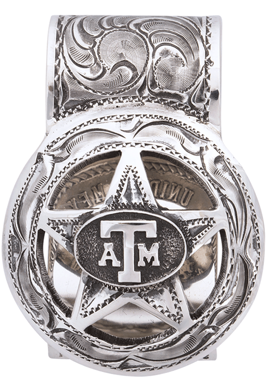 Texas A&M University Cinco Peso Engraved Money Clip - Pinto Ranch