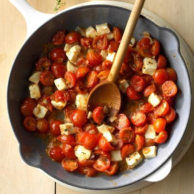 Cherry Tomato Mozzarella Saute Recipe | Taste of Home