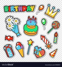 Fantastic Happy Birthday Party Stickers Badges Vector Image Happy Birthday Party Stickers Badges Royalty Free Vector Happy Birthday Party Gif Happy Birthday Party Time