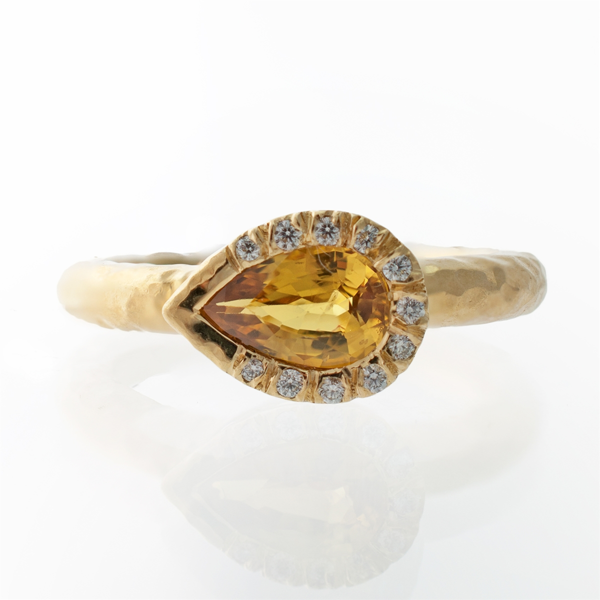 Modish Men Yellow Sapphire Ring Inclusions Larger Photo J Briggs Co Hammered Pear Bezel Yellow Sapphire Ring Yellow Sapphire Ring wedding rings Yellow Sapphire Ring