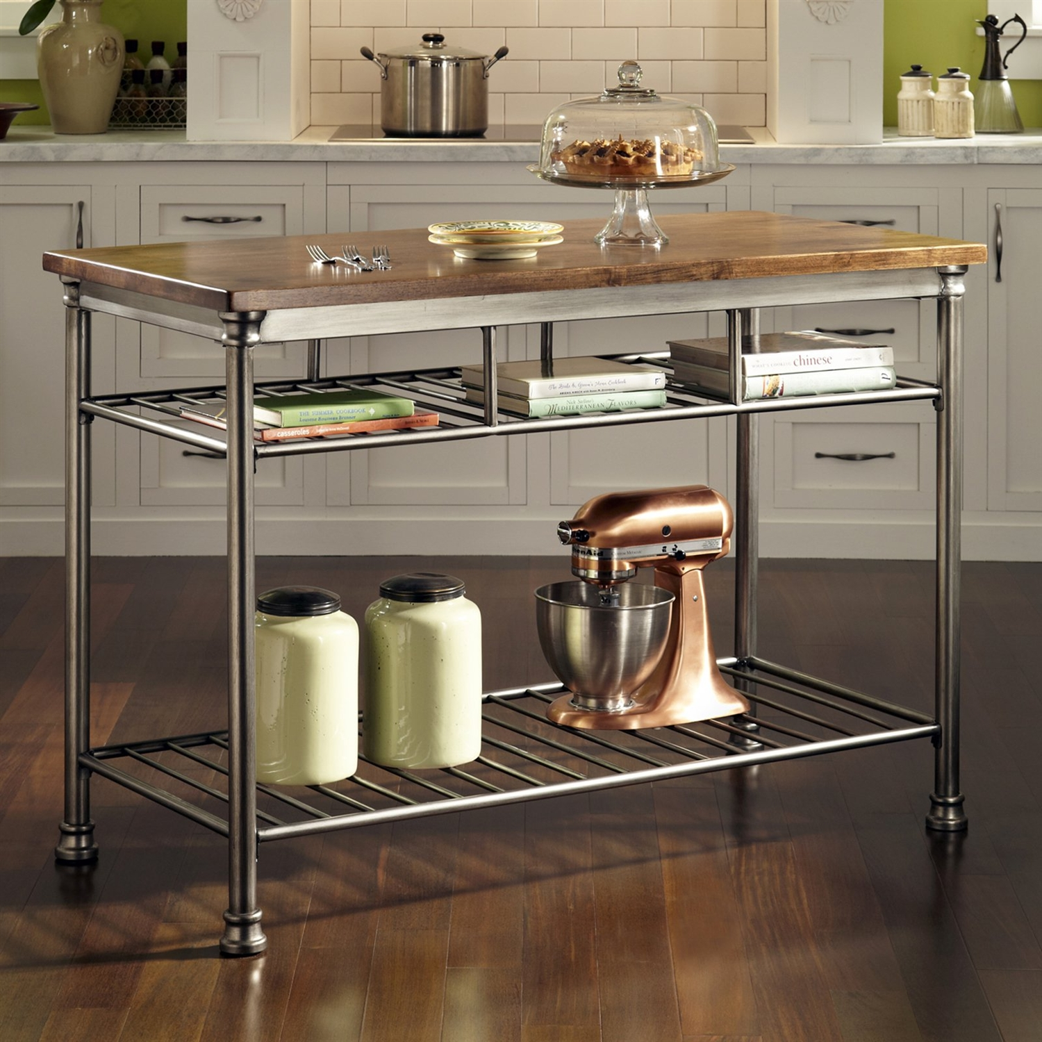 wbwt kitchen utility table Classic French Style Hardwood Butcher Block Top Metal Kitchen Utility Table