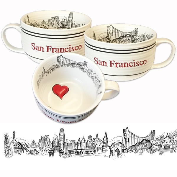 Arresting San Francisco Soup Or Cappucino Oversized Mug By Sf Mercantile Oversized Latte Mugs furniture Oversized Latte Mugs