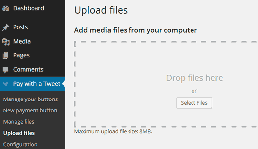 Pay with a Tweet - Upload files