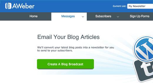 Create a blog broadcast