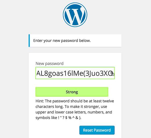 New password reset screen in the upcoming WordPress 4.3