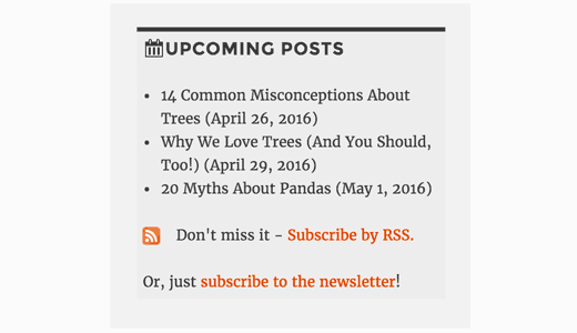Preview of upcoming posts in sidebar