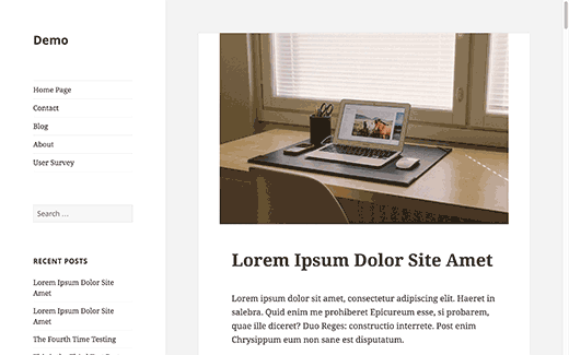 A WordPress site with sidebar on the left side