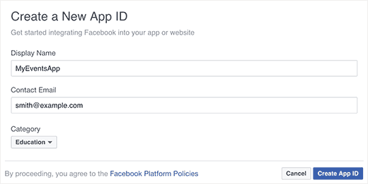 Provide a name for your app and select category