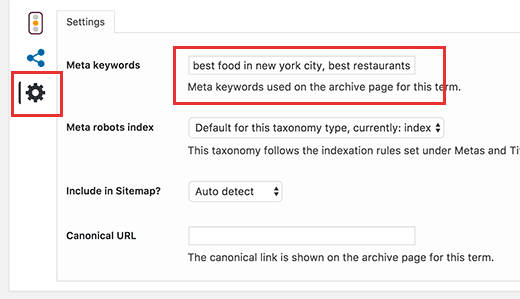Adding meta keywords for a category archive page in WordPress