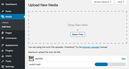 Upload your audio and image files in WordPress