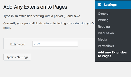 Add .html to pages in WordPress