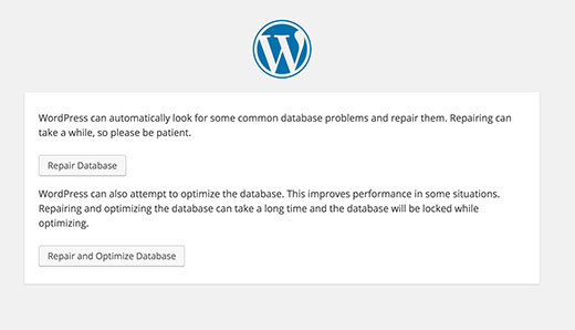 Repair database in WordPress