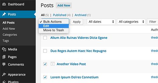 Bulk editing posts in WordPress