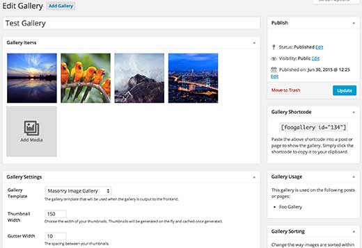 Foo Gallery user interface