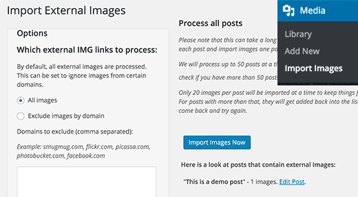 Importing squarespace images in WordPress