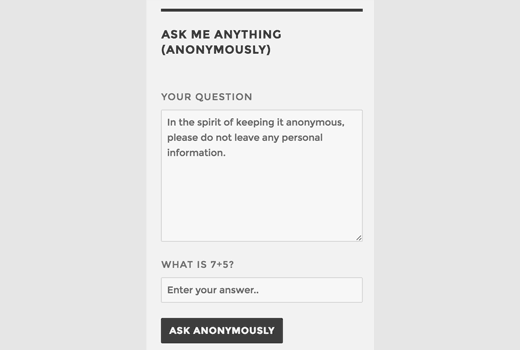 Ask me anything form in a sidebar widget