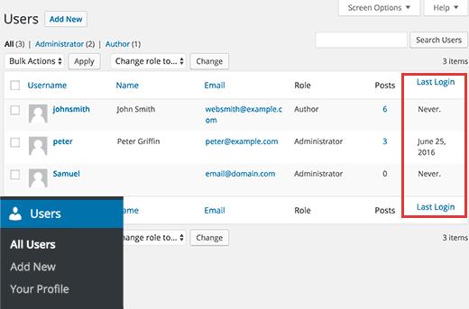 Last login date column in WordPress admin area