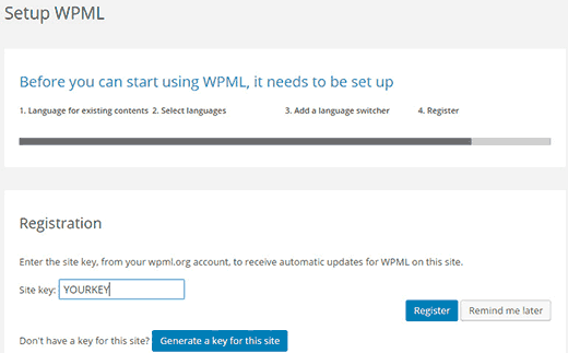 Register site key to receive automatic updates