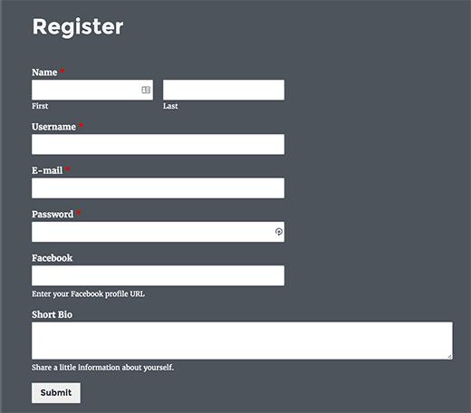 Previewing custom user registration form