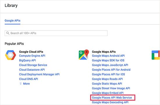 Select Google Places API