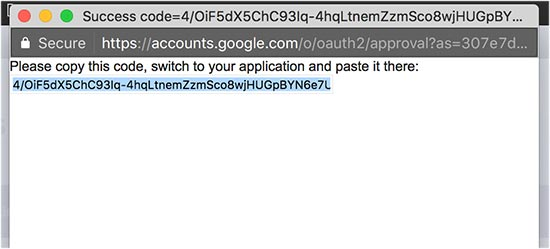 Get your authentication code