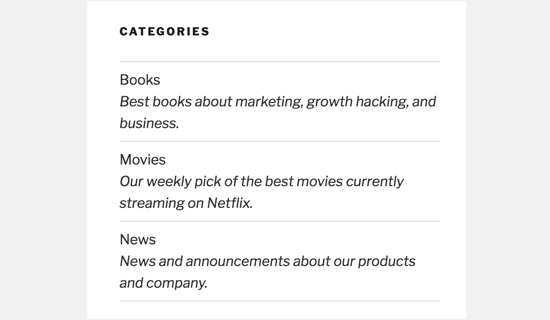 List WordPress categories with description
