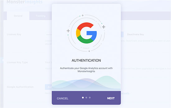 MonsterInsights popup to authenticate with your Google account