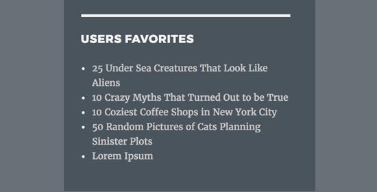 User's favorite posts shown in sidebar widget