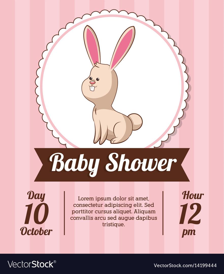 Wonderful Baby Shower Card Invitation Save Date Rabbit Vector 14199444 Baby Shower Card Girl Baby Shower Cards Boy baby shower Baby Shower Card