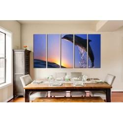 Joyous Piece Canvas Room Canvas Wall Blue Sky Group Piece Canvas Art Ocean Large Dolphin Group Canvas Large Art Prints Kitchen Large Art Prints Ireland
