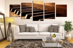 Stylish 5 Piece Group Canvas Living Room Multi Panel Art Music Canvas Art Prints Piano Huge Canvas Art Brown Artwork Panoramic Canvas Photography 58767 Large Canvas Art Sale Large Canvas Art Bedroom