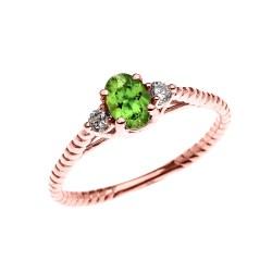 Elegant Him Rose G Promise Ring Set Az Solitaire Rope Design Rose G Promise Ring Rose G Peridot Solitaire Rope Design Ring Rose G Oval Peridot