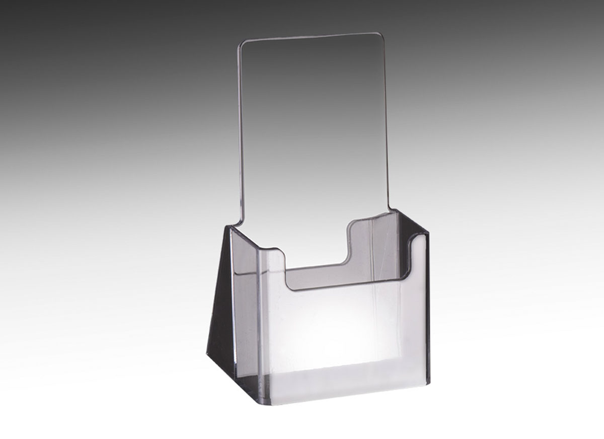 Acrylic Brochure Holder   Single Pocket   4 w x 9 h   The Global     Clear acrylic brochure holder for displaying tri fold collateral
