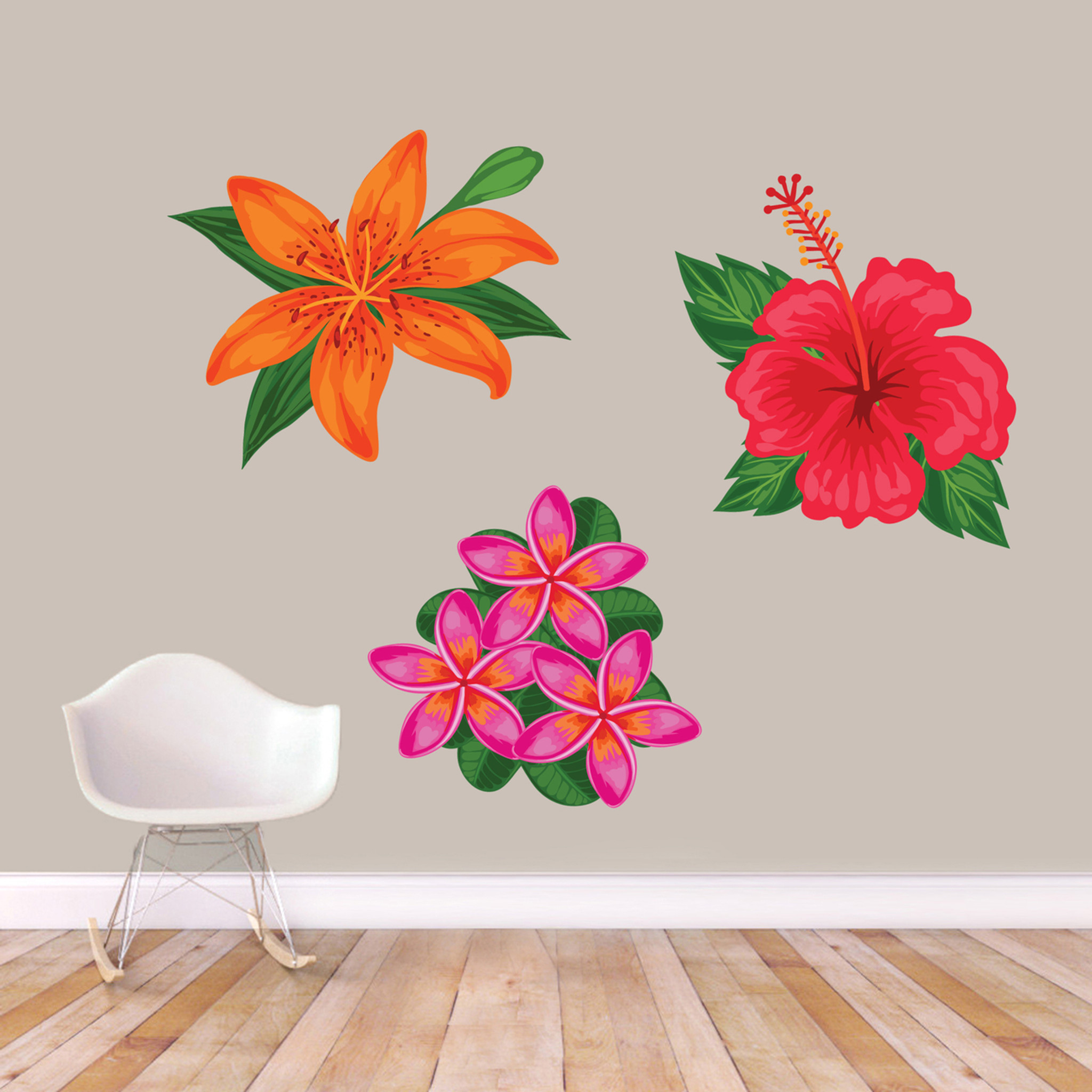 Impressive Bathroom Printed Tropical Flowers Wall Decals Large Sample Image Printed Tropical Flowers Wall Decal Set Ums Signatures Flower Wall Decals Uk Flower Wall Decals houzz-03 Flower Wall Decals