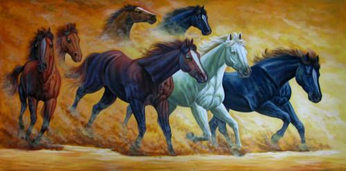 Shop Horses, White Horse, Running, Lucky, Vastu, Animals, Birds, Fishes Paintings Online