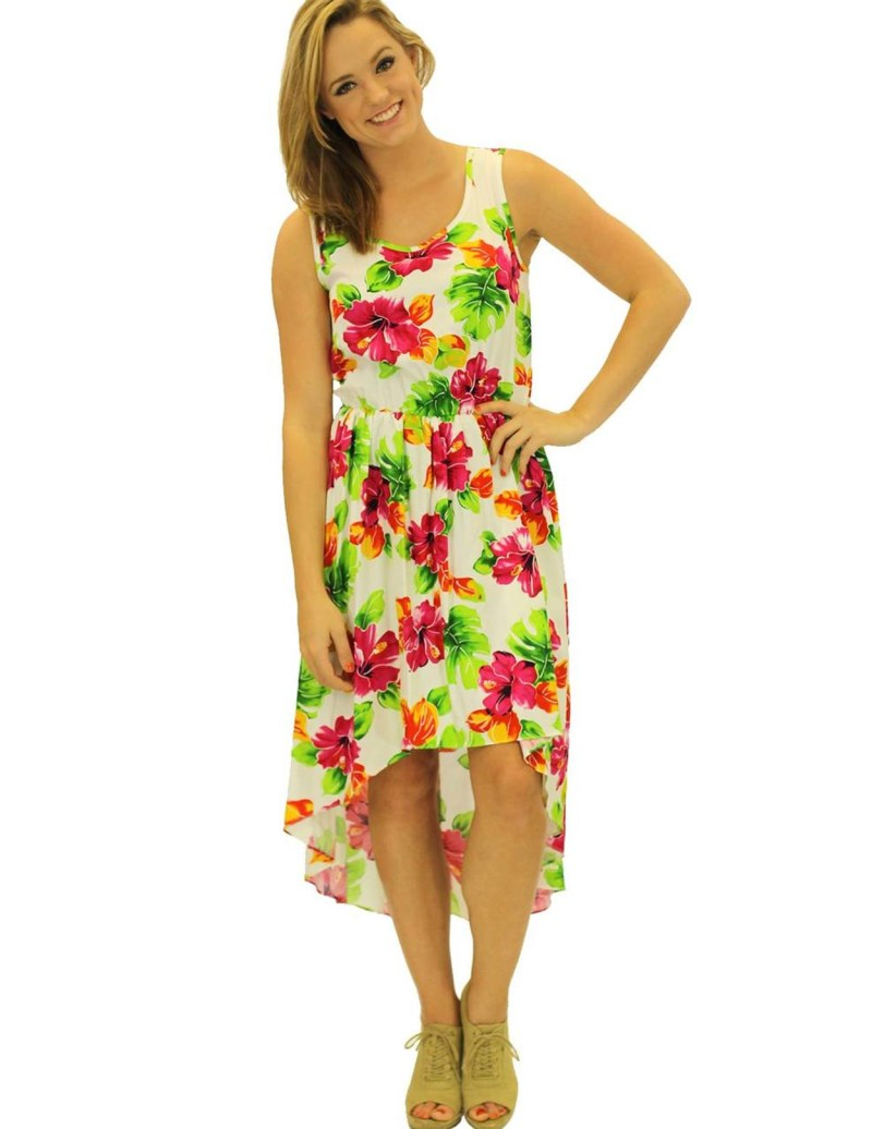 Supple Aloha Low Rayon Mid Length Dress Water Hibiscus Aloha Low Rayon Mid Length Dress Water Hibiscus Hawaiian Mid Length Dresses Graduation Mid Length Dresses Juniors