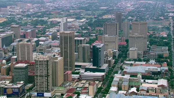 Aerial Shot Of Pretoria City Centre Rightsmanaged Stock Video