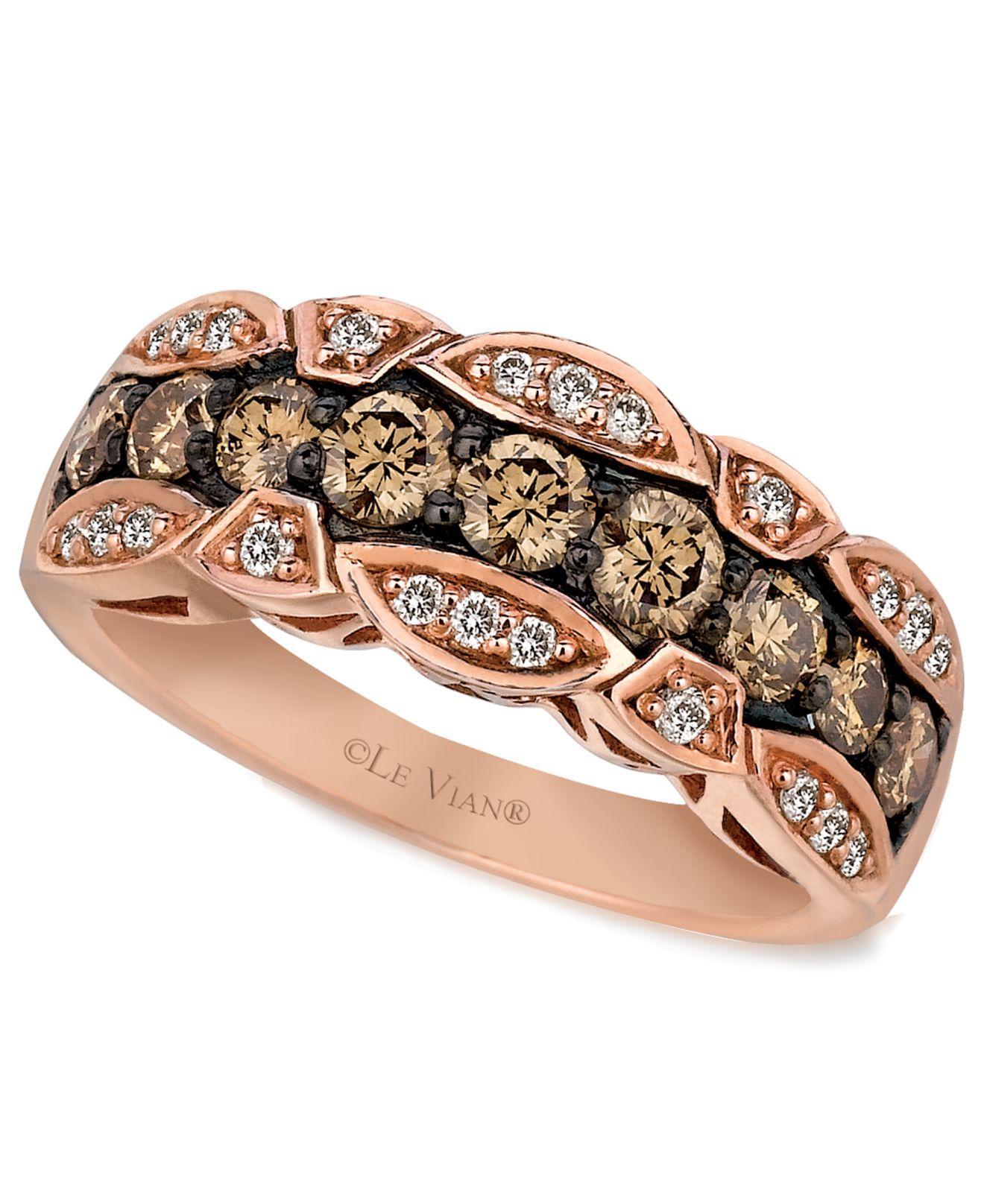 le vian 14k rose gold chocolate and white diamond band ct tw le vian wedding bands Le Vian