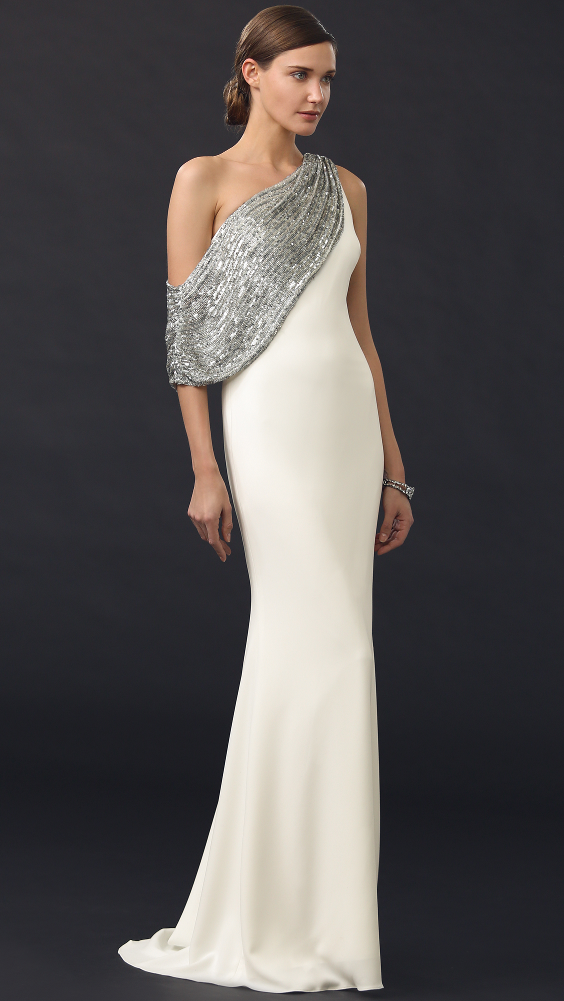 Stylized Badgley Mischka Collection Light Ivory Beaded Shoulder Drape Gown Light Ivory Product 4 591952054 Normal Badgley Mischka Dresses Wynne Short Sleeve Badgley Mischka Dresses Size wedding dress Badgley Mischka Dresses