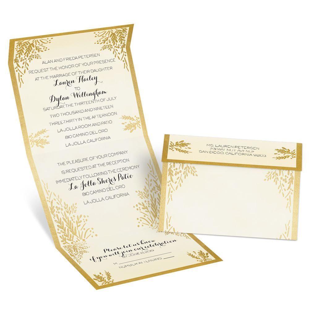 gold wedding invitations gold wedding invitations Gold Wedding Invitations Ferns of Gold Seal and Send Invitation