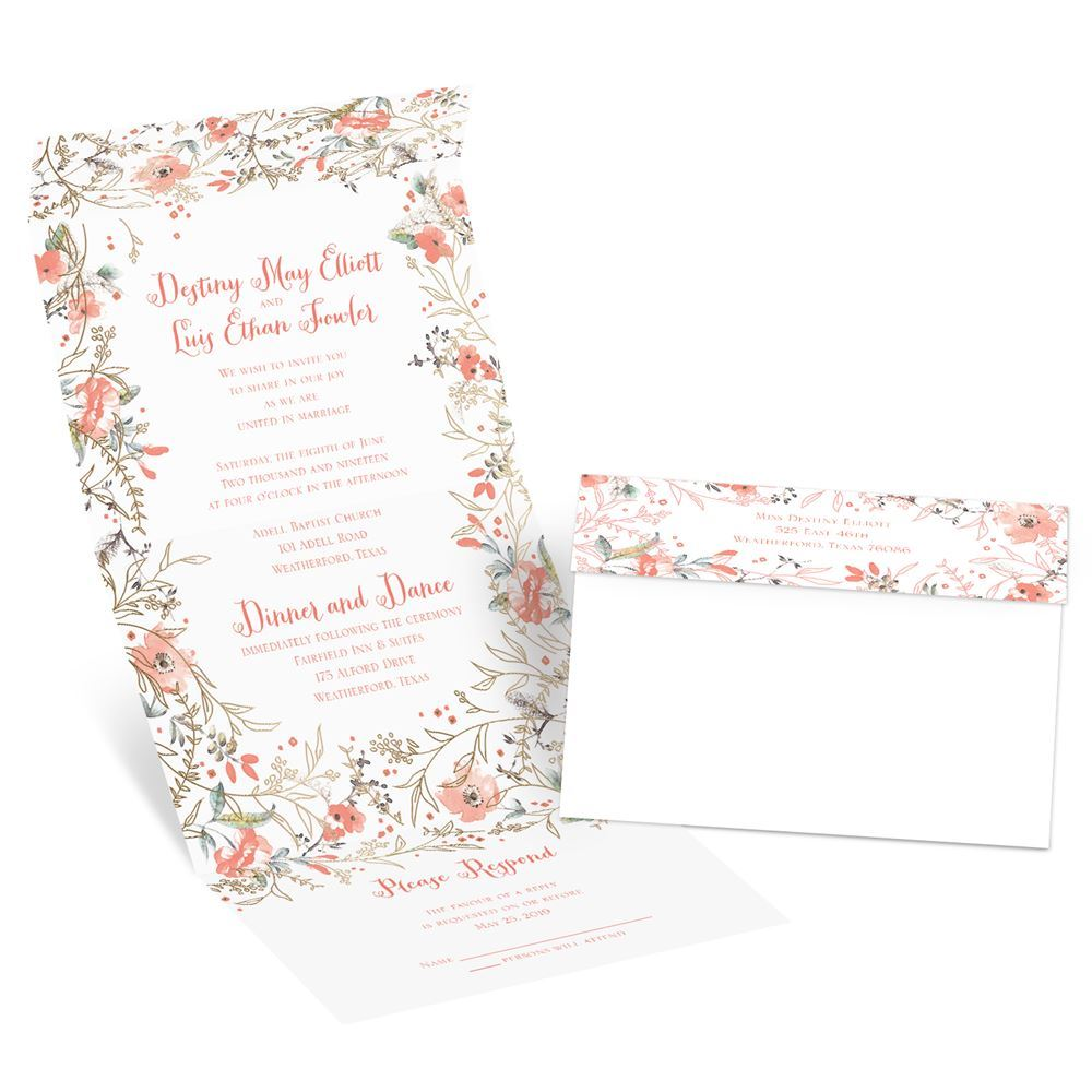 cheap wedding invitations cheap wedding invitation Wildflower Frame Foil Seal and Send Invitation