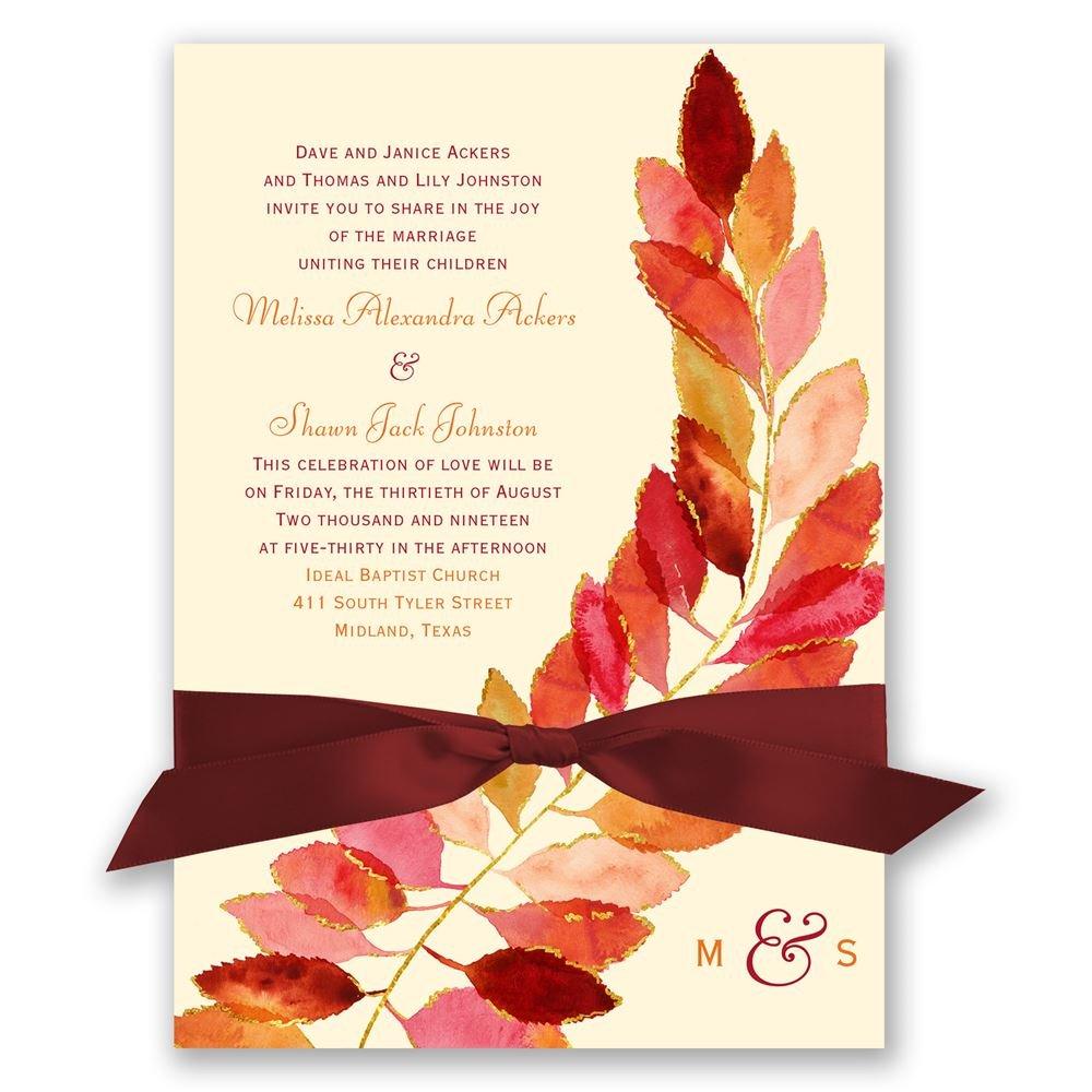 gold wedding invitations gold wedding invitations Gold Wedding Invitations Feathered Fall Invitation
