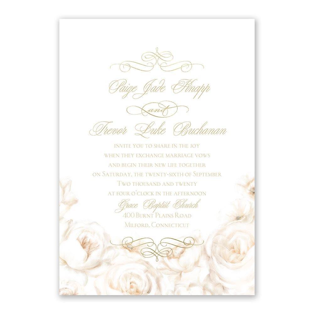 elegant wedding invitations classy wedding invitations Elegant Wedding Invitations White Roses Foil Invitation