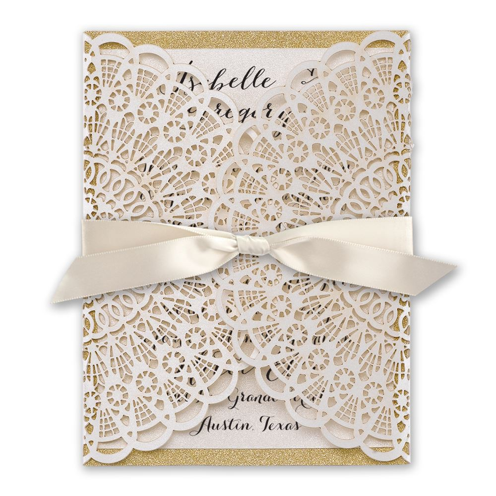 laser cut wedding invitations laser cut wedding invitations Laser Cut Wedding Invitations Rustic Glam Laser Cut and Real Glitter Invitation