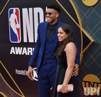Giannis Antetokounmpo and Mariah Riddlesprigger attend the 2019 NBA Awards in Santa, Monica ...