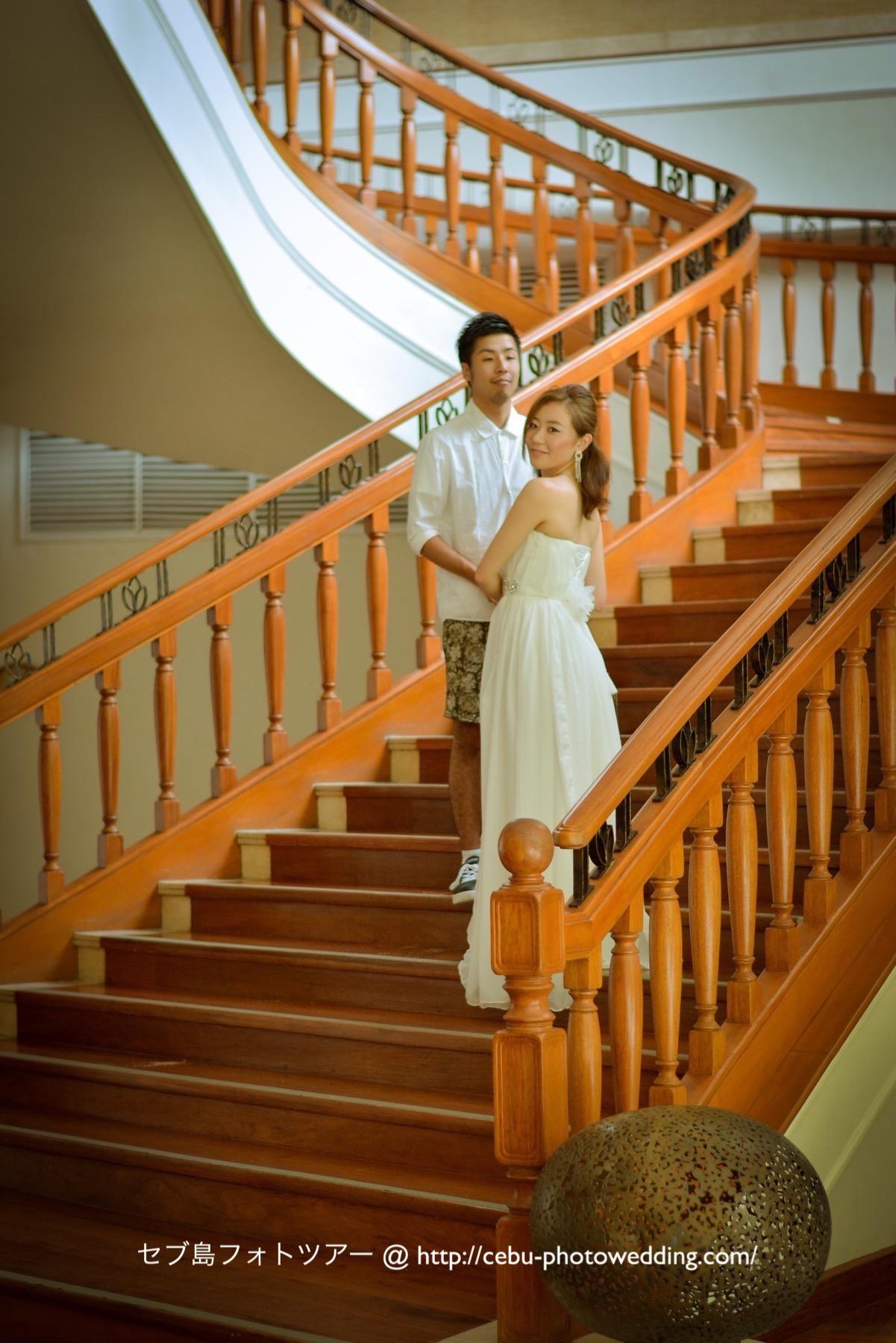 螺旋階段で撮影