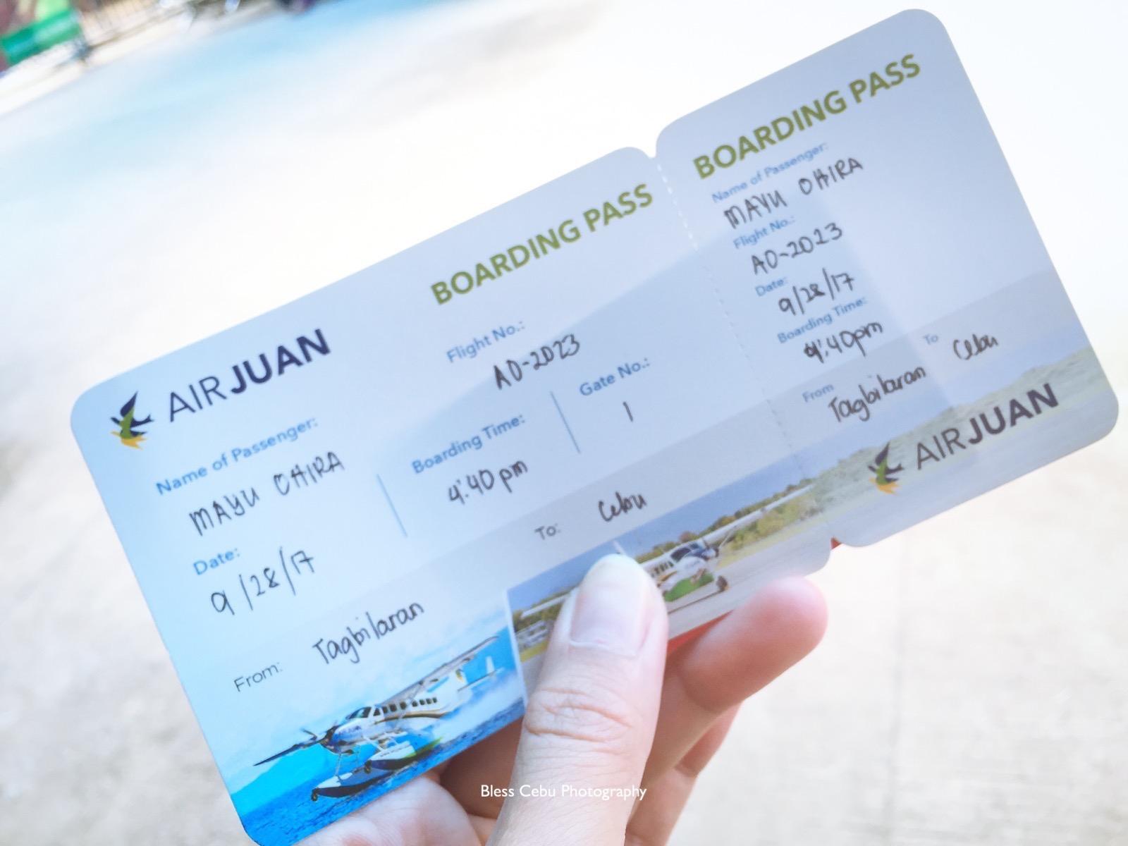 AIR JUANの手書きボーディングパス